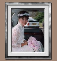 Bride In Car - Distracting Background Needs Removing