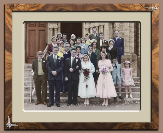 Old black and white wedding photos made into colour